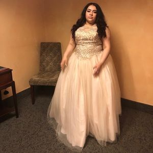 Champagne color prom dress